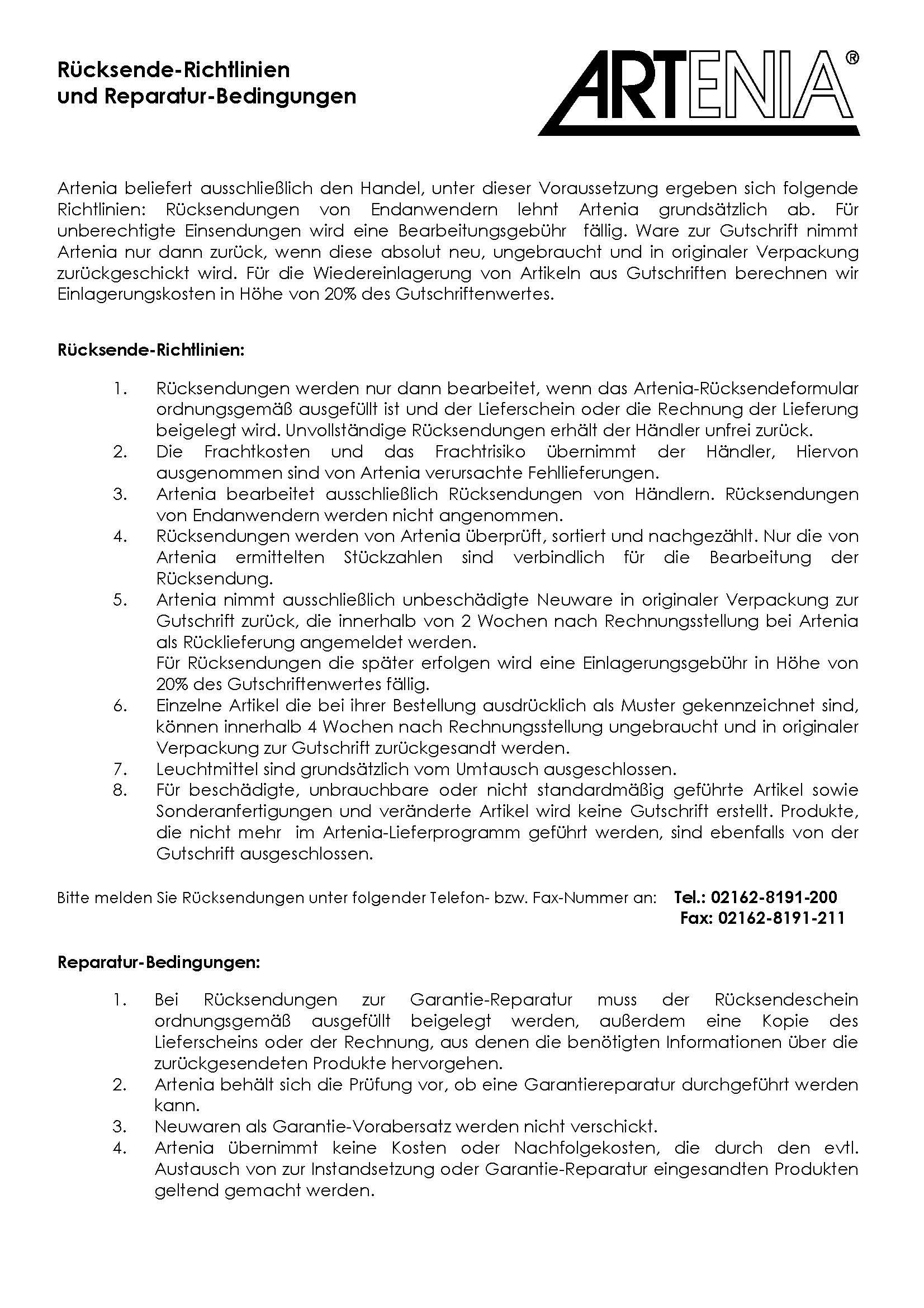 Artenia_Ruecksenderichtlinie